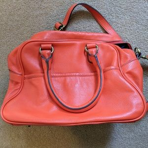 Boden orange bowling style real leather bag EUC